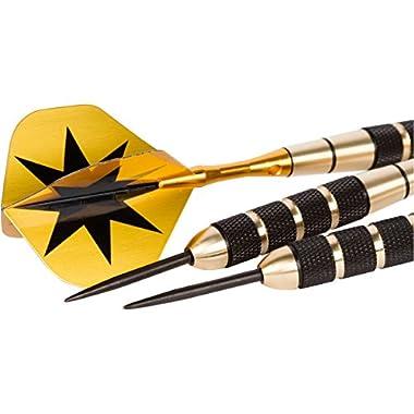Game of Throws 24 Gram Steel Tip Dart Set with Case. 2 Different Aluminum Shafts for Custom Feel. Extra Flights & Shafts Included! Brass Barrels. 6 Flight Protectors.