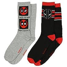 Marvel Deadpool Mens 2 Pack Crew Socks Size 6-12