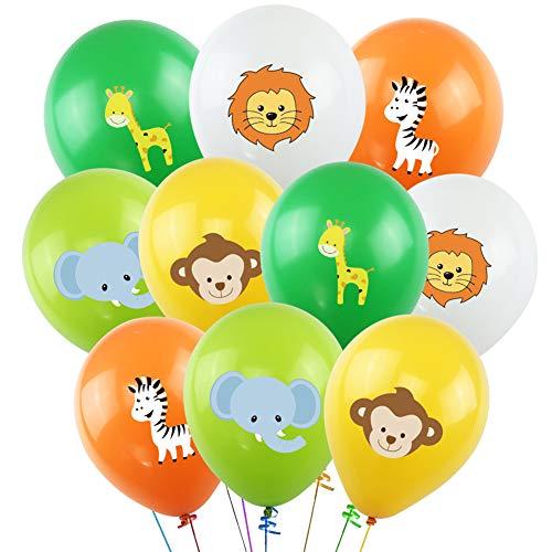K KUMEED Jungle Safari Animals Balloons - 50pcs 12 Inch Latex Animal Balloons for Jungle Safari Animals Theme Birthday Party Decorations