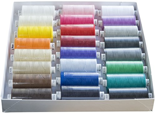 24 Pack Coats Assorted colours box of Moon Sewing Thread 1000 yrds