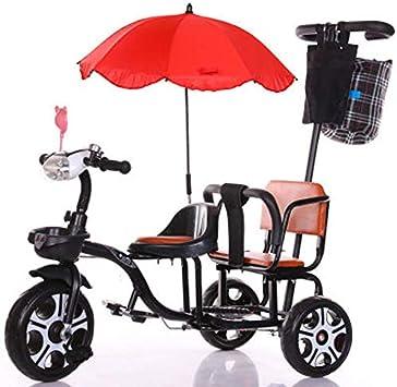 JHGK Triciclo para Niños, Triciclo Doble De Acero con Alto Contenido De Carbono, Bicicleta, Biplaza con Marco Trasero/Sombrilla/Luz, Triciclo para Niños Tricycle,Negro