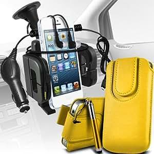 Nokia Lumia 925 premium protección PU botón magnético ficha de extracción Slip espinal en bolsa de la cubierta de piel de bolsillo rápido con lápiz óptico retráctil, Jack de 3,5 mm auriculares auriculares auriculares, cargador de coche USB Micro 12v y soporte universal de la succión del parabrisas del coche Vent Cuna amarilla por Spyrox