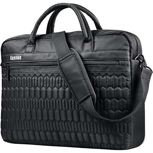Laptop Bag, KEEPWE Water Resistant Lightweight Nylon Laptop Messenger Shoulder Bag for Women, Men, Work, College, Carrying Laptop Briefcase for Women Men (Black)