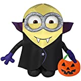 Gemmy Airblown Inflatable Minion Dressed as Dracula Holding a Pumpkin Tote - Indoor Outdoor Holiday Decoration, 3.5-foot Tall