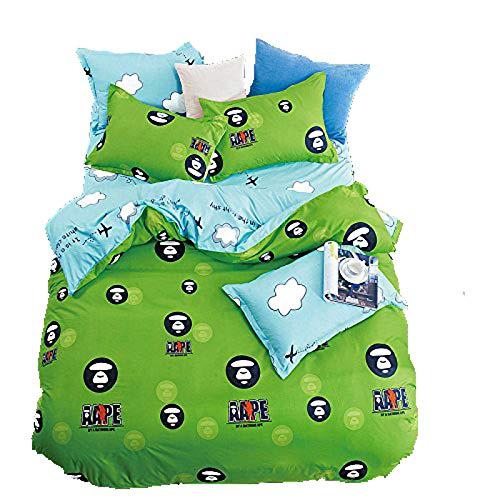 KFZ Bed Set Bedingset Duvet Cover Flat Sheet Pillowcase No Comforter Twin Full Queen Sheets Set MF Plane Cloud Lattice Rain Triangle Design for Kids Teens Bed (Phone City, Green, Twin 59