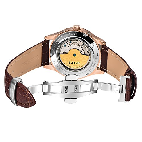 Affute-Luxury-Mens-Automatic-Self-Wind-Watch-with-Brown-Leather-Band