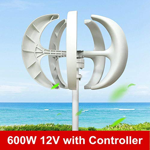 XYOUNG Wind Turbine,600W 12V Electromagnetic Wind Turbine Generator White Lantern Vertical Axis Controller Garden Boat Wind Generator 5 5-Blade Leaves Wind Turbine Kit US Stock (Wind Use Home For Generators)