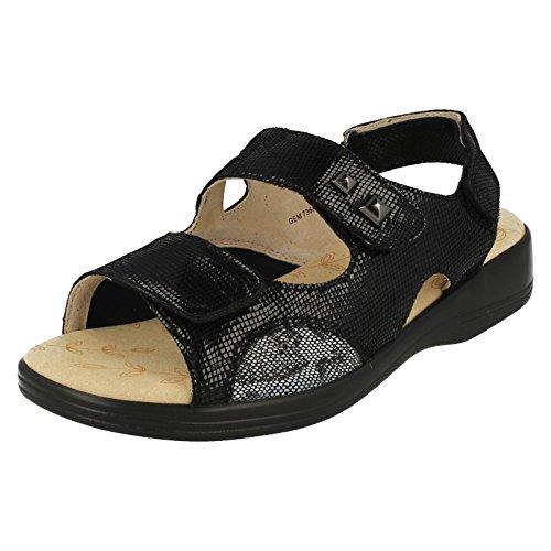EEE Noir Velcro Noir Reptile Plus Wide Sandales Reptile Gem Padders Femmes fwxOCO