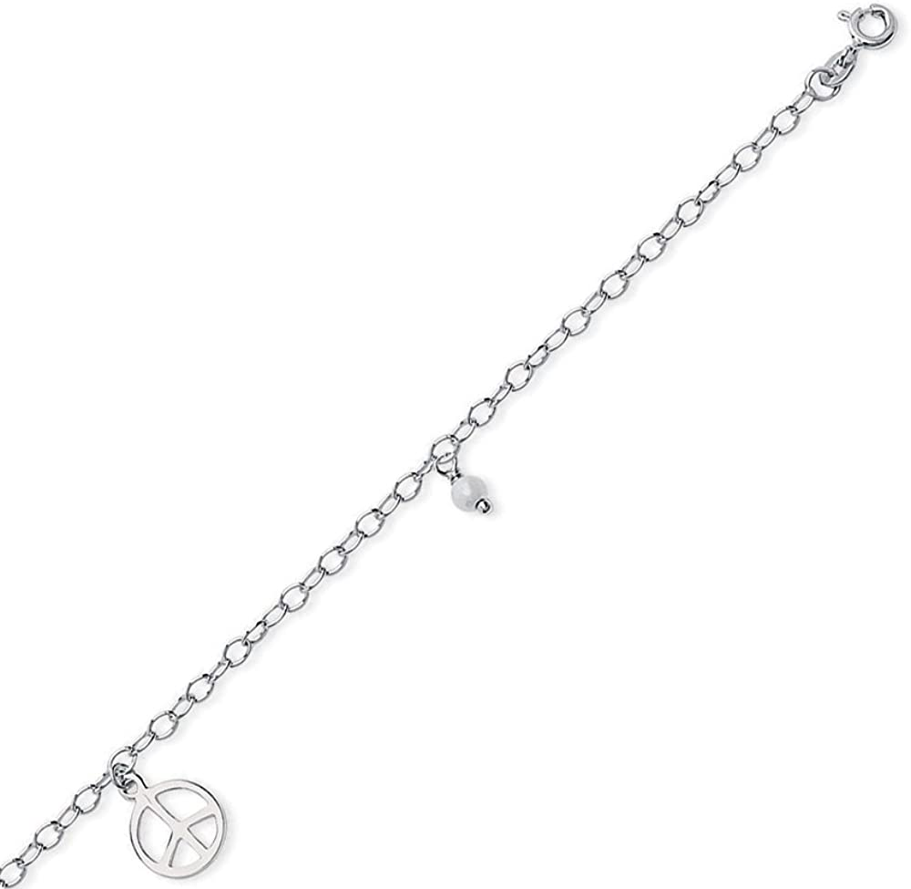 Sterling Silver Peace Sign and Pearl Dangle Anklet 10 length