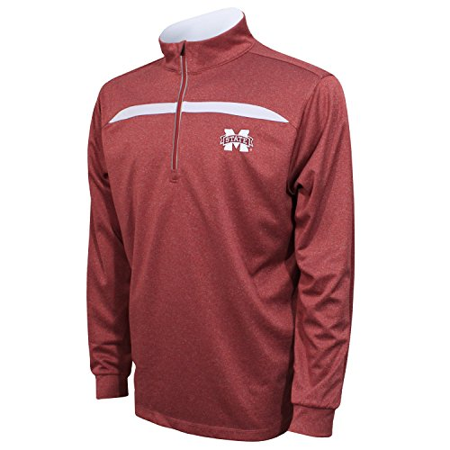 Crable NCAA Mississippi State Bulldogs Adult Men's Quarter Zip with Contrast Panel, X-Large, Maroon/White (State Arkansas University Golf)