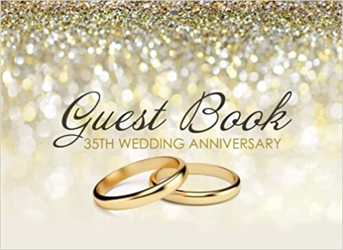 Guest Book 35th Wedding Anniversary Beautiful Ivory Guest Book