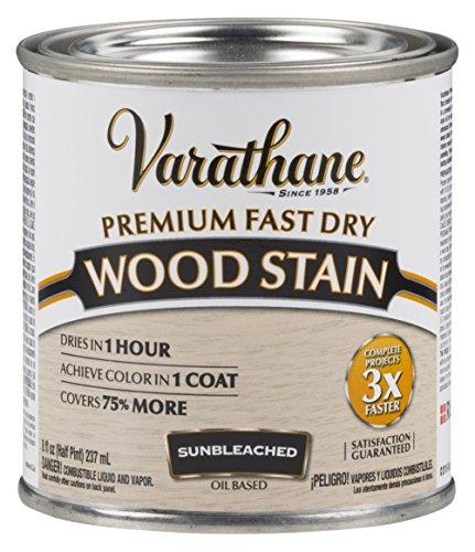Varathane 262030 Premium Fast Dry Wood Stain, 1/2 Pint, Sunbleached