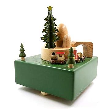 XZZ Caja de música de Madera rotación Caja de música niñas niños cumpleaños Regalos Navidad artesanía Regalos Adornos decoración de Navidad: Amazon.es: ...