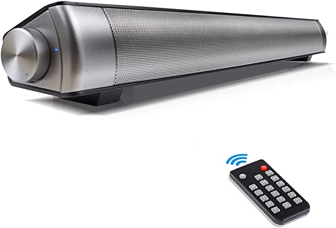 Wireless Bluetooth TV Speakers 2.0 Channel 3D Surround Sound Bar with Subwoofers