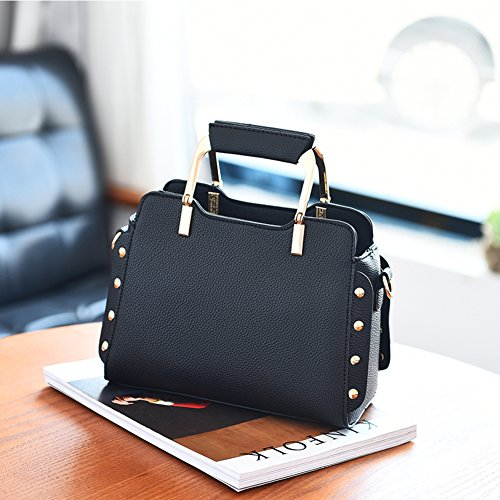 Messenger handbags shoulder hobo Stylish bags large tote leather Women leather bags Nclon shoulder Top Pu strap handle Designer fashion With black black pu handbags capacity xnAqIH