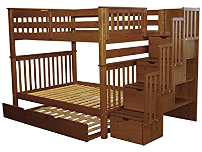 Bedz King Stairway Bunk Bed Full over Full with 4 Drawers in the Steps and a Full Trundle, Espresso