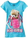 Hello Kitty Boo the Dog Big Girls' Short Sleeve T-Shirt with Screen and Boo Cute, Blue, Large