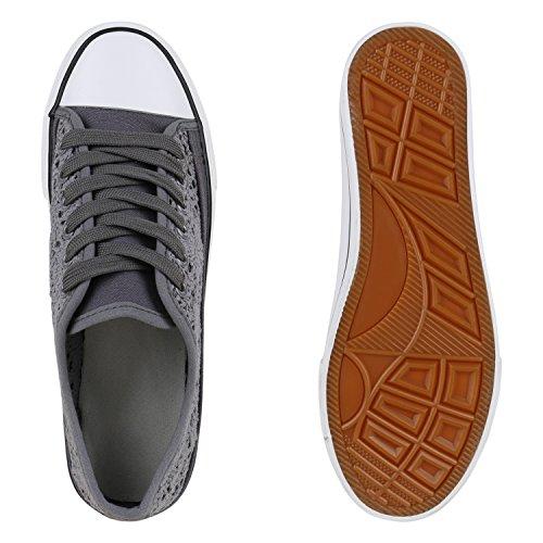 Stiefelparadies Damen Sneakers Spitze Sneaker Stoffschuhe Sportschuhe Basic Freizeit Schuhe Flandell Dunkelgrau