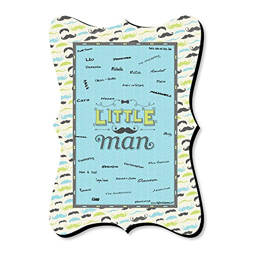 (Dashing Little Man Mustache Party - Unique Alternative Guest Book - Baby Shower or Birthday Party Signature Mat)