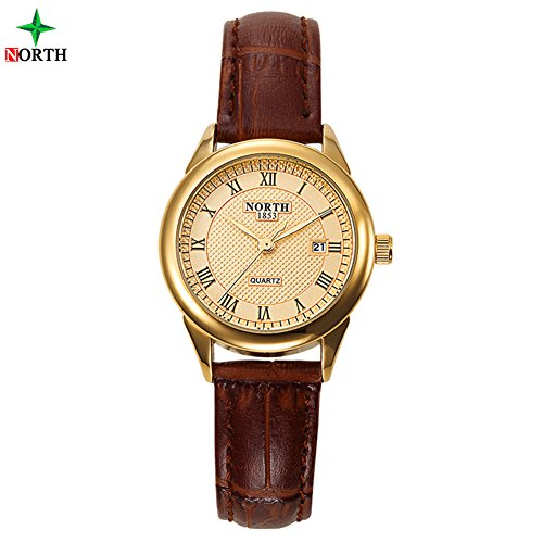 Dilwe Women Watch, 30M Waterproof Women Quartz Analog Watch Round Wristwatch with Leather Strap(#3) (Round Dial Plate Scale)
