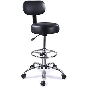 Ordinaire Drafting Stool With Adjustable Foot Rest, Superjare Rolling Chair Wu0027 Back  Cushion, Black
