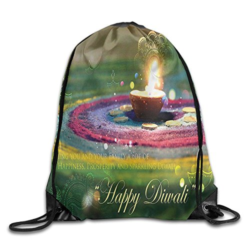 FYW Diwali Tribal Religious And Festive Celebration With Happy Wishes Quotation Photo Print Drawstring Bags Camping Backpack Sport Bag For Men & Women by FYW