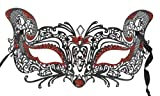 Black With Red Accent Venetian Cat Mask