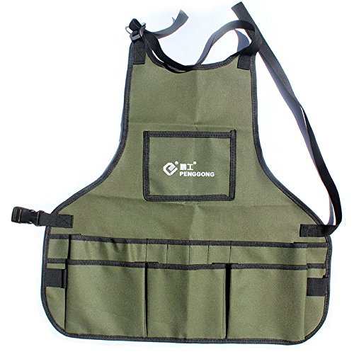 Garden Tool Apron - Professional Heavy Duty Work Apron With Tool Pockets, Waterproof Adjustable Belt Tool Apron for Men & Women Fusheng (Army green;)
