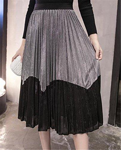 A Mi Jupe Femme Extensible Slim Fit Femelle Jupe Beau Jupe Taille Jupe Swing Line Grey Big Jupe ElGant Haililais Longue Plisse Skirt EPwxAqvq