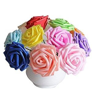 Flyusa 100 pcs Artificial Flowers 2.4 inch Foam Rose Flower Heads For Bridal Bouquet Wedding Centerpieces Kissing Balls Party Home Decoration 3