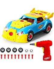 SGILE Construction Toys - 31 Pcs Take Apart Racing Car With Sound&Light - Gift for 3 Years Old Boys