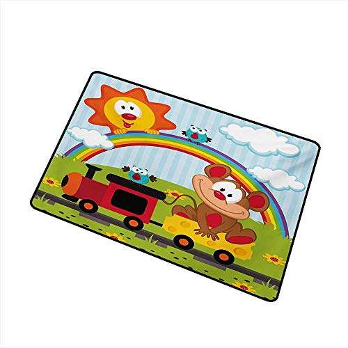 Axbkl Pet Door mat Nursery Mouse Transporting Cheese by Train Rainbow Clouds Funny Sun and Birdies Flowers W30 xL39 Quick and Easy to Clean