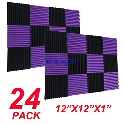 FidgetGear 12x12x1 24Pack Black/purple Acoustic Wedge Studio Soundproofing Foam Wall Tiles from FidgetGear