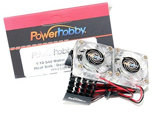 Aluminum Motor Heatsink (Powerhobby Aluminum Motor Heatsink Twin Dual Cooling Fan Traxxas Slash 4x4 Black)