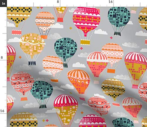 - Spoonflower Andrea Lauren Fabric - Hot Air Balloon Balloon Vintage Retro Colorful Flying Machines by Andrea Lauren Printed on Petal Signature Cotton Fabric by The Yard