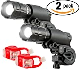 Bright Eyes Aircraft Aluminium Waterproof 300 Lumen LED Bike Light Set (Headlight, TailLight), 2 Pack For Sale