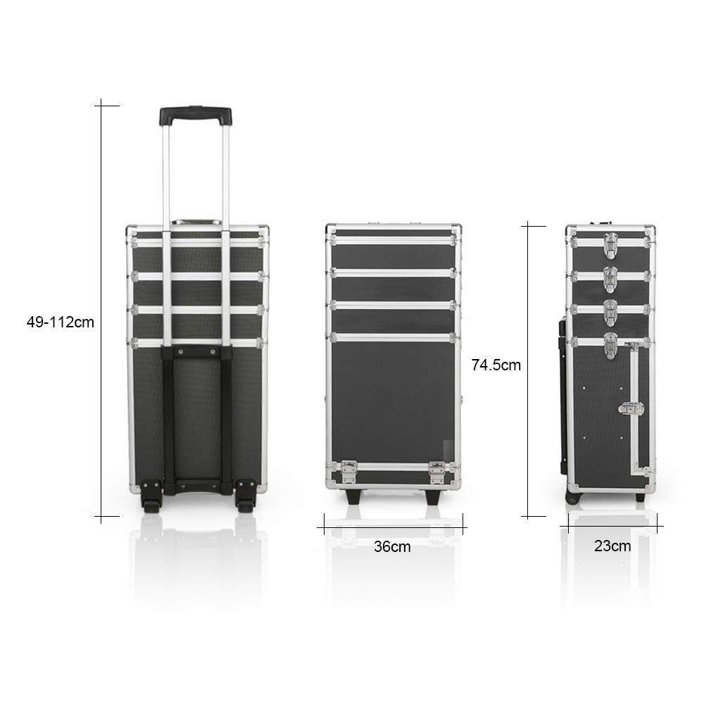 Abody Rolling Makeup Train Case, 4 in 1 Professional Aluminum Artist Trolley Makeup Case Cosmetic