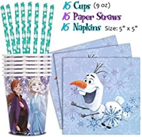 Dinner Plates Cups, Frozen Party Supplies for 16 Napkins Cake Plates