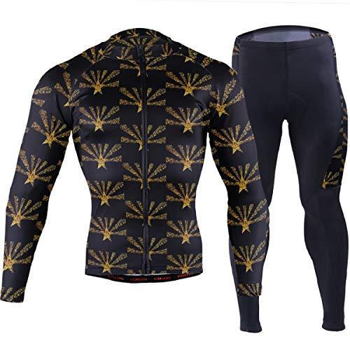 Arizona State Flag Gold Men's Cycling Jersey Set Breathable Quick-Dry MTB Road Bike Luxury