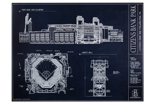 Citizens Bank Park Blueprint Style Print