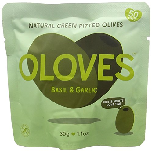 Oloves Juicy Plump Olives Bathing in Spicy Basil and Garlic 30 g (Pack of 10)