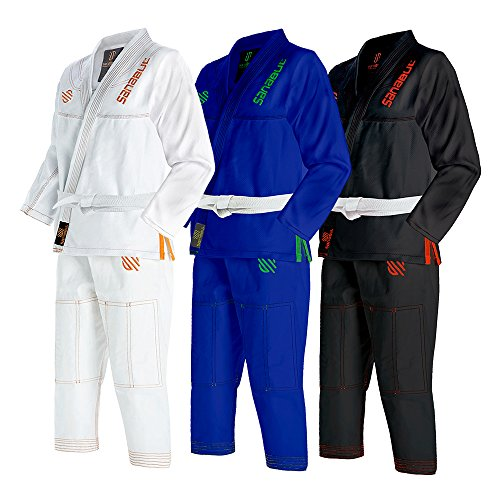 Sanabul Kids Highlights Brazilian Jiu Jitsu BJJ Gi (WHITE, K1)