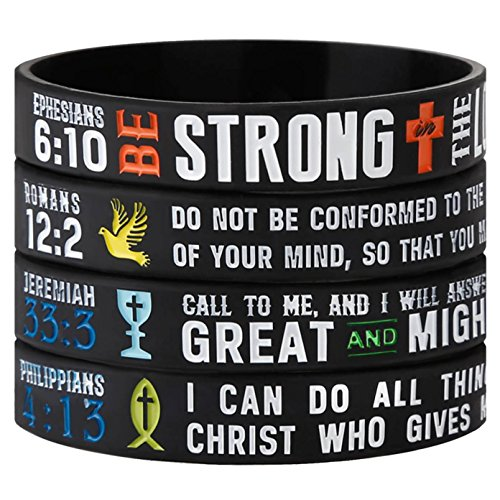 - Sainstone Power of Faith Christian Bible Verse Silicone Bracelets - Religious Rubber Wristbands with Christian Symbols and Scriptures Holiday Jewelry Gifts (Unisex)
