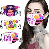 3PC Happy Birthday Theme Face_Mask for Outdoor Work and Daily Use, Mixed Pack Adults Men Women Cotton Face Covering with Adjustable Earloop, Reusable & Washable Anti-Dust Face Protection