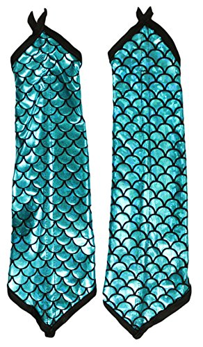 Adult Halloween Costume Accessory - Mermaid Arm Sleeves (Blue)