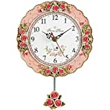 Collections Etc Vintage Rose Pendulum Wall Clock