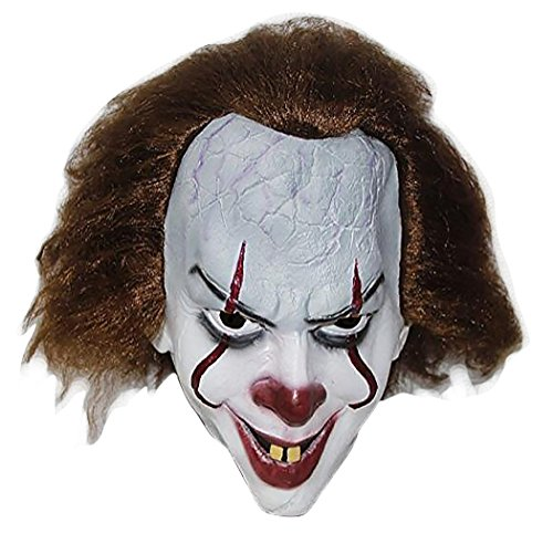 Scary Pennywise Movie Clown Mask Costume Stephen King's It Pennywise Halloween Joker Masks Brown -