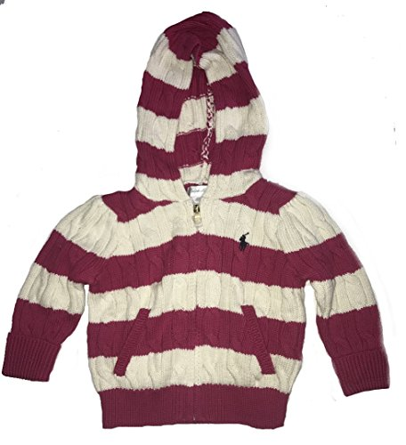 Ralph Lauren Girls Knit Sweater (Polo Ralph Lauren Baby Girl Infant Stripe Cable Knit Cotton Zip Up Hoodie Cardigan Sweater Pink and Cream (3m))