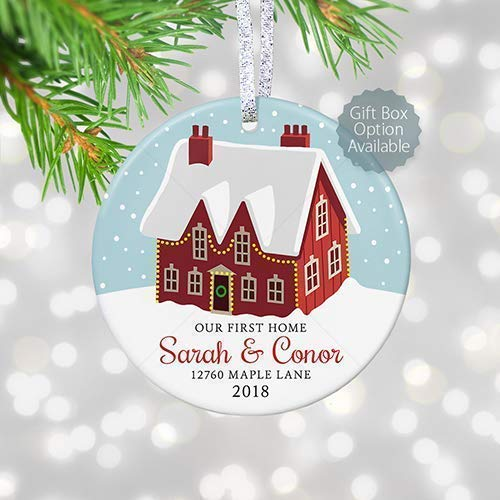 Our First Home Christmas Ornament.Our First Home Ornament 2018 Personalized First Christmas New House Gift Housewarming Realtor Gift 3 Flat Circle Porcelain Ceramic Ornament