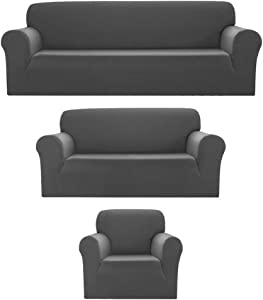 Sapphire Home 3pc SlipCover Set for Sofa Loveseat Couch, Form fit Stretch & Wrinkle Free, Furniture Protector Cover, Premium Fabric, Polyester Spandex, Slipcover Diamond 3pc, Light Gray